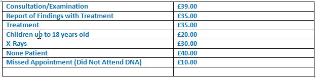 Chiropractic Prices Weston super Mare Somerset